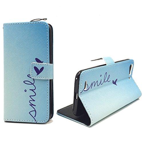 Roi Boutique Housse Wallet Cadre Bumper Case Cover imitation cuir Format Livre SMILE BLAU