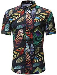 Longra ★ Camiseta Hombre, Camiseta de los Hombres Slim Fit O Cuello Sólido de Manga Corta de Algodón Tops Casuales Blusa Camisas…
