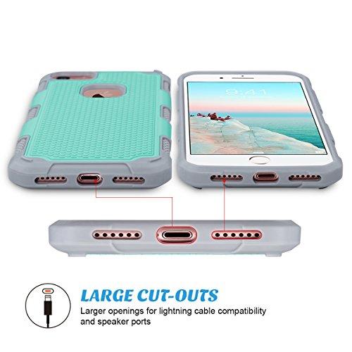 iPhone 7 Hülle, ULAK Apple iPhone 7 Hülle 2in1 Hybrid Hart PC und Weißh Silikon Gel Schutzhülle Tashce Case Cover For Apple iPhone 7 4.7 Zoll (Roségold + Roségold) Minze + Grau