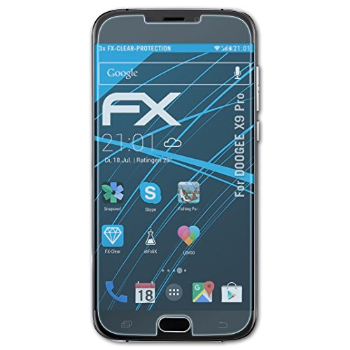 atFolix Schutzfolie kompatibel mit DOOGEE X9 Pro Folie, ultraklare FX Bildschirmschutzfolie (3X)