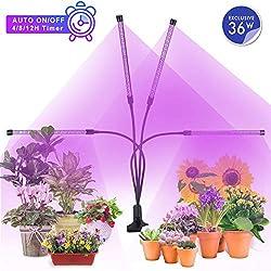 MiMiya Pflanzenlampe 36W 72 LED, Led pflanzenlampe Vollspektrum Pflanzenlicht Automatik-Timer 4H/8H/12H, LED Grow Light, Wachstumslampe für Zimmerpflanzen Gartenarbeit Gewächshaus