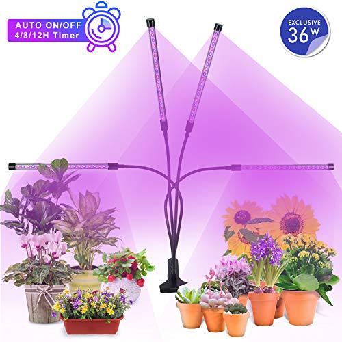 MiMiya Lampe de Croissance pour Plantes, 5 Niveaux à variation réglable LED Plante Lampe, 36W...