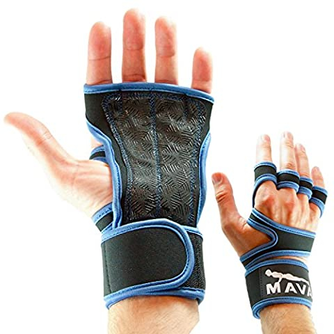 Mava Sports Cross Training Gloves & Pullup Grips for WOD, Weight Lifting, Kettlebell Exercise, Gym Workouts – Silicone Hand Grip & Callus Guard with Velcro Wrist Wraps Support