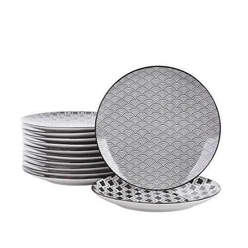 vancasso, Haruka Porzellan Dessertteller, 12-teilig Set, Durchmesser 21,5 cm Rund Kuchenteller, Brotteller, Schwarz