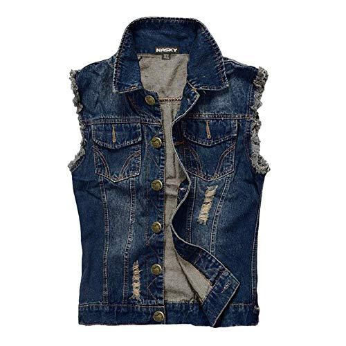 NASKY Fit Retro Männer zerrissene Jeans Denim Jacke Weste Westen Weste (X-Large, Dark Blau)