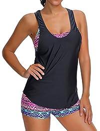 YuanYan Damen Summer Tankinis Mehrfarben Skort Bottom Set Zweiteilig Bademode Sport Yoga Fitness 3-Teilig Tankini