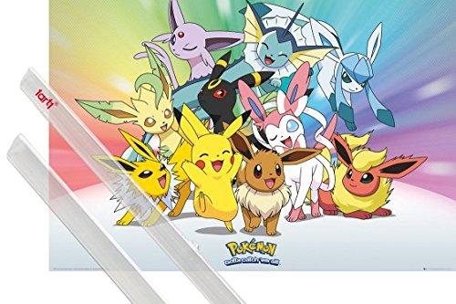 Poster + Sospensione : Pokemon Poster Stampa (91x61 cm) Pikachu, Eevee, Jolteon Flareon Vaporeon Umbreon Leafeon Glaceon Sylveon E Coppia Di Barre Porta Poster Trasparente 1art1®
