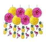 FLGood – Sommerparty Deko - Papier Pompons Dekoration mit Einer Flamingo-Ananas Girlande für Geburtstag-Hawaii-Grill-Garten-Party