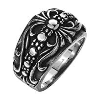 LuremeŽ Punk Retro Ancient Maya Biker Gothic Chrome Hearts Style Stainless Steel Silver Black Band Ring for Men(04001151-parent) (11)