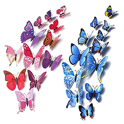 3D Butterfly Wall Stickers for Home, Room Decoration,  12 Of Each Colour (Blue, Rose Red)