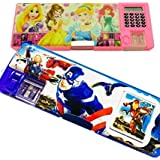 Sceva Avenger And Barbie Type Dual Sided Multipurpose Pencil Box With Calculator And Sharpner (Multicolour)