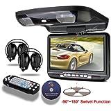 xtrons 22,9cm Tête Lecteur DVD de voiture avec Toit rabattable avec pivotant HD écran numérique USB SD disque de jeu casque avec IR émetteur FM et IR intégré (couleur en option)