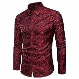 TEBAISE Urlaub Oktoberfest Mode Herren Hochzeit Clubbing Dance Anzug Hemd Slim Fit Streifen Langarm Casual Button Shirts Formale Top Bluse(Weinrot,EU-50/CN-L)