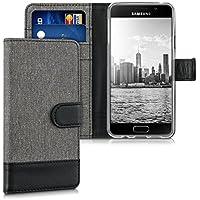 kwmobile Étui portefeuille en cuir synthétique pour Samsung Galaxy A3 (2016) - étui avec compartiment pour carte de visite et carte de crédit avec fonction support pratique en gris noir
