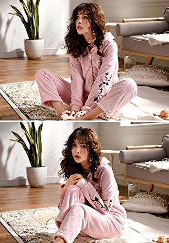 donne inverno flanella set da pigiama le signore 2 pezzi morbido addensare loungewear, M-XXL , Pink , xxl Pink