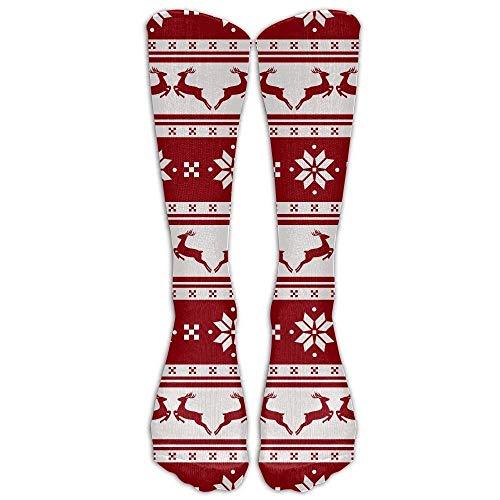 DEFFWBb Merry Christmas and Happy New Year Athletic Tube Stockings Women's Men's Classics Knee High Socks Sport Long Sock One Size