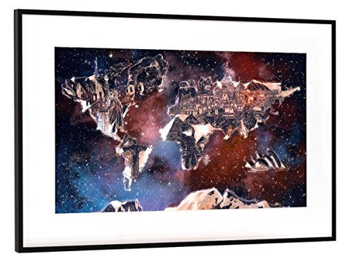 Rahmen Schwarz (Metallic) 45x30 cm World Map Landmarks Collage 5