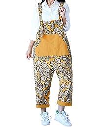 Sidiou Group Donna Salopette Pantaloni Baggy Stampato Pantaloni Dungarees  Gambe Grandi Pantaloni Jeans 5b63ede5373