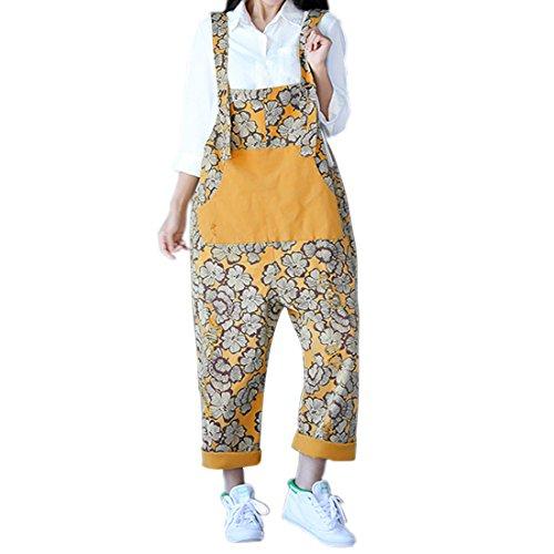 Sidiou Group Damen Casual Printed Baggy Hose Weite Bein Latzhosen Baumwolle Spielanzug Jumpsuit Spielanzug (One Size, Stil 5-Gelb)