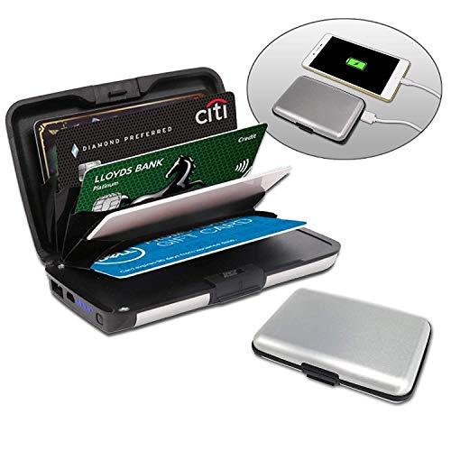 Kreditkartenetui aus Aluminium mit powerbank | blockiert RFID und NFC | Kartenhüllen aus Aluminium | Powerbank 2000mAh | 2 IN 1 Kartenetui und Powerbank | Silber Farbe
