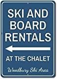 "wenyige8216 Ski & Board Rentals at Chalet Arrow Sign, Personalized Ski Location Name Metal Decor, Custom Ski Lover Gift - 12""x18"" Quality Aluminumign..."