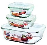 Boroseal Lock&Lock Boroseal LLG455S3k Set di 3 contenitori per alimenti, rettangolari, 1 x 2 l, 1 x 380 ml, 1 x 160 ml