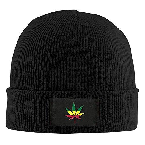 DD Decorative Men's/Women's Jamaica Flag Weed Warm Winter Knit Plain Beanie Hat Skull Cap Black Multi Color Knit Skull Cap