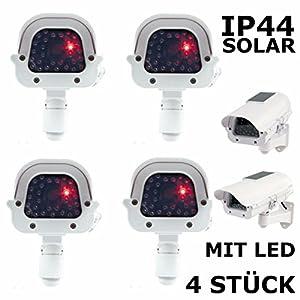 4 Stück Solar Dummy Kameraattrappe IP44 mit blinkender LED Außen / Innen Wandmontage