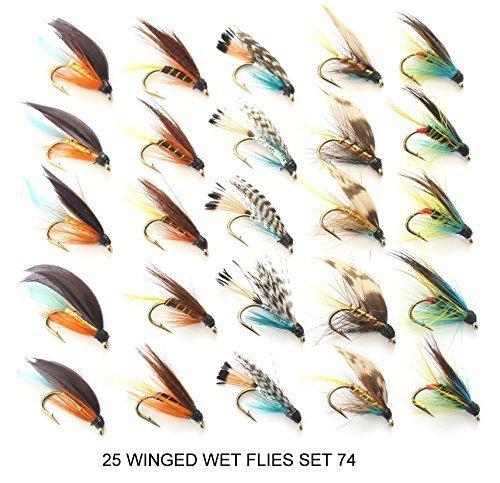 25 Forellen Fliegen - Radom auswahl von GEFLÜGELTER NASS Forelle fliegenfischen fliegen S 74