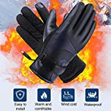 haodene PU Leder Heizhandschuhe Winter Touchscreen Motorrad Reiten Handschuhe Winddicht Wasserdichte Elektrische Handschuhe