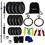 SPANCO Home Gym With Weight Plates 44Kg. (5 Kg. X 4 = 20 Kg. + 3 Kg. X 8 = 24 Kg.), Dumbell Rods, Straight Rod & Gym Gloves, Skipping Rope, Sweat Band, Hand Gripper Back Pack Bag & Roman Ring