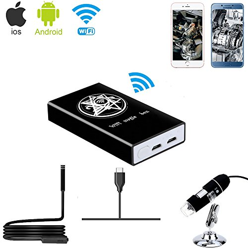 Jiusion Box wireless Wi-Fi Compatibile con iPhone Tablet con telefono Android iPad, convertitore da convertitore di Tipo C/USB a WiFi per microscopio digitale con microscopio digitale