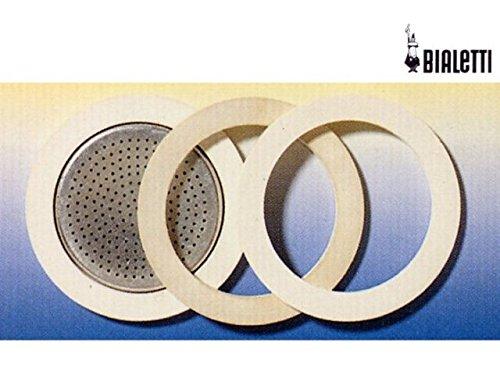 Bialetti Elegance 0186001 - Ricambi per caffettiere da 1-2 tazze (3 guarnizioni in gomma e 1 microfiltro in acciaio)