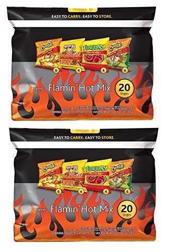 Flamin' Hot Mix Chips: Cheetos Flamin' Hot, Chester's Fries, Funyuns Flamin' Hot, Cheetos Limon: 40 Packs Total by N/A