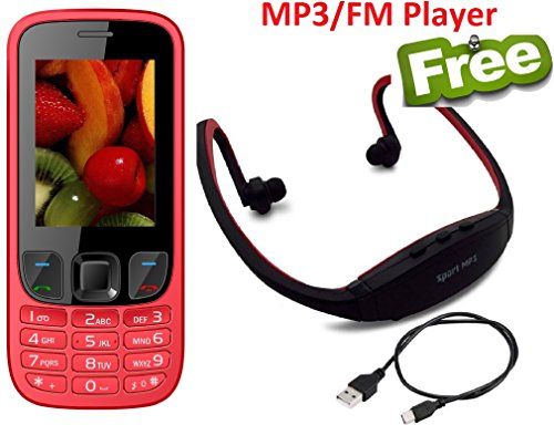 IKALL K6303 Dual Sim 2.4-inch Display Mobile Feature Phone with 1800mAh Battery, Bluetooth, GPRS, Flash Light, FM with MP3/FM Player Neckband(Red)