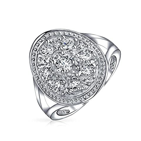 Bling Jewelry CZ Cluster bague de fiançailles en Argent Sterling