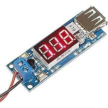 DROK® DC-DC Buck convertidor de voltaje 4.5-40V 12V a 5V / 2A Step-down voltios Transformador estabilizador regulador de voltaje del módulo de fuente de alimentación Interruptor Junta inversor con LED voltímetro 5V Cargador USB