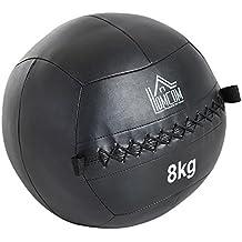 HOMCOM Balón Medicinal de Crossfit 8Kg con Asas Tipo Pelota de Ejercicios  de Cuero y PU b5e4b2232e06