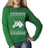Unicorn Einhorn Weihnachtsmotiv Fantasie Ausgefallen Frauen Sweatshirt XX-Large Grün