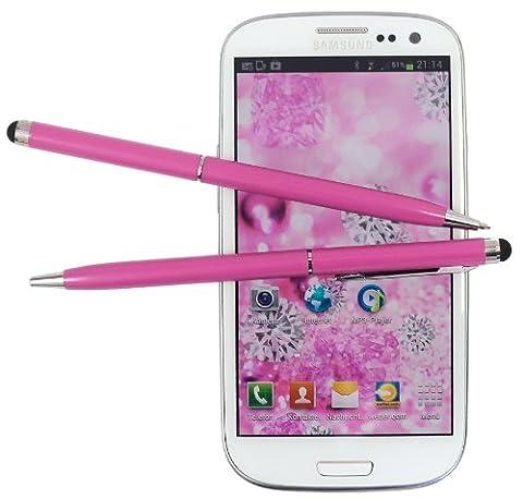 2x PINK tomaxx Stylus Pen - Eingabestift + Kugelschreiber für