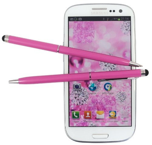 2x PINK tomaxx Stylus Pen - Eingabestift mit Kugelschreiber für Apple iPhone 6S - Apple iPhone 6S Plus, Samsung Galaxy S5, Samsung Galaxy Grand i9080, i9802 Duos, HTC M7, HTC One SV, Sony Xperia E + E dual, Nokia Lumia 620, IPHONE 5, Samsung Galaxy S3 i9300 S 3 - I8160 Galaxy Ace 2 - S5222 Star 3 Duos - S5220 Star 3, S6500, Samsung Galaxy Music S6010 - Galaxy Music DUOS S6012, Galaxy S3 Mini i8190, Galaxy S3 LTE i9305, Samsung Galaxy Music S6010 - Galaxy Music DUOS S6012, Samsung Galaxy S3 Mini i8190, Samsung Galaxy Music S6010, Galaxy Music DUOS S6012, Galaxy S3 Mini i8190 u.a alle Samsung Handy mit Touchscreen Display…