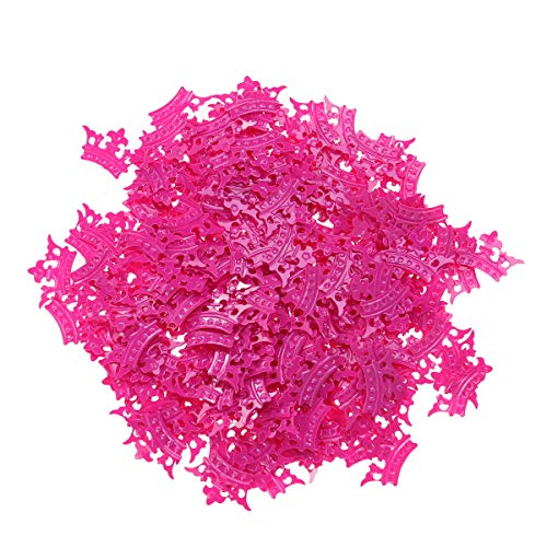 BESTOYARD 15pcs Glitter Crown Confetti für Prinzessin Theme Party Table Scatter Mädchen Geburtstag (Rose Red, 2cm Krone)