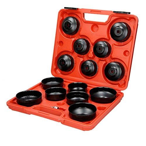 ECD Germany Ölfilterschlüssel Set 15tlg. - inkl. Adapter - im Werkzeugkoffer - Ölfilteröffner Ölfilterkappen Ölfilter Werkzeug