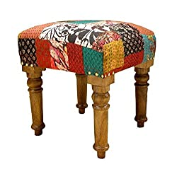 Theshopy Wooden Stool With Upholstery Folding A441