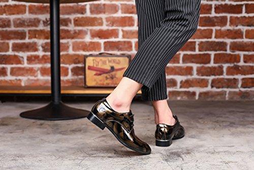 JOYTO Chaussure Homme Cuir, Lacets Derby Mariage Dressing Oxford Business Cuir Vernis Marron Rouge Bleu Gris 37-50 Or