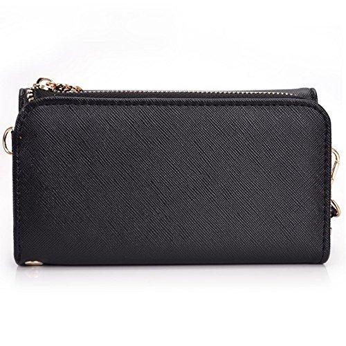 Kroo d'embrayage portefeuille avec dragonne et sangle bandoulière pour Smartphone Nokia 301 Black and Purple Black and Violet