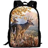 HOJJP Die meisten robusten leichten Awesome Rucksack Daypack für Outdoor-Camping - Herbst Natur Wildlife Tier Hirsche Jagdsaison