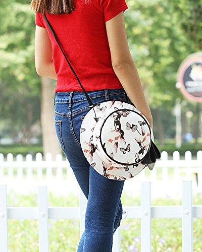 Borse a Tracolla Sacchetto Donna, Borse di Stile Cappello Rotondo Borse a Mano Elegante Zaino Stampato 2