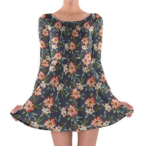 Hawaiano-flores-oscuro-manga-larga-vestido-skater