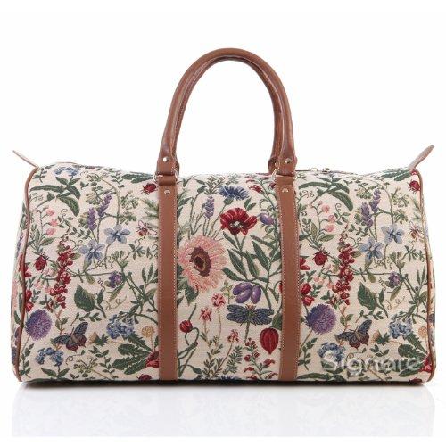Bolsa de viaje grande de moda Signare para mujer en tela de tapiz bolsa de viaje para el fin de semana Jardín por la mañana